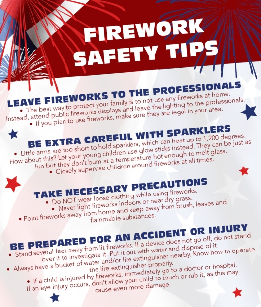 firework safety Retail fireworks sales: 1 keep exits clear and accessible 2 know all exit routes 3 maintain view of fireworks 4 know alarm procedures 5 know fire extinguisher location and.